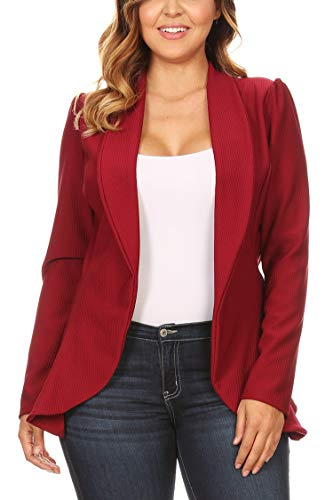 Solid Long Sleeve Open Front Shawl Collar Blazer Burgundy 1X ()