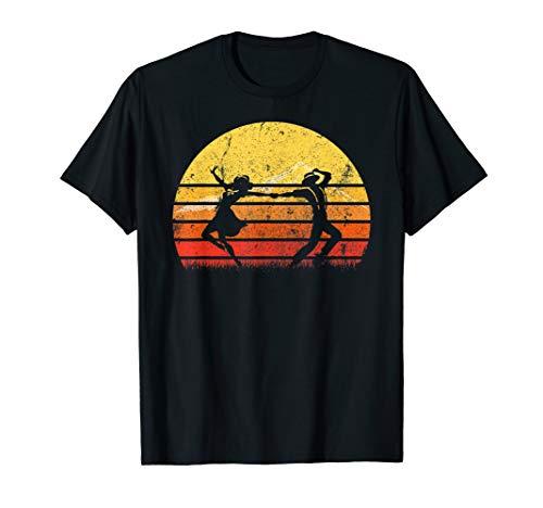 Vintage Retro Dancing Player Silhouette Sun Disco T-shirt