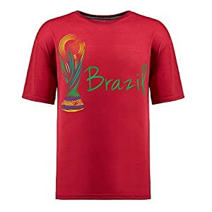 Brasil 2014 FIFA World Cup Theme Short Sleeve T-shirt,Football Background Mens Cotton shirts for Fans red