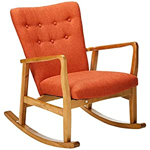 Christopher Knight Home Collin Mid Century Fabric Rocking Chair, Muted Orange, Light Walnut