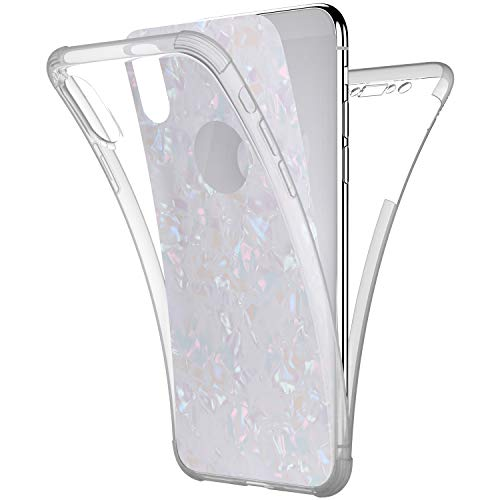 - Case for iPhone XR,[Full-Body 360 Coverage Protective] Crystal Clear 2in1 Bling Glitter Shell Pattern Front Back Full Coverage Soft TPU Silicone Rubber Case Cover for iPhone XR Silicone Case,White
