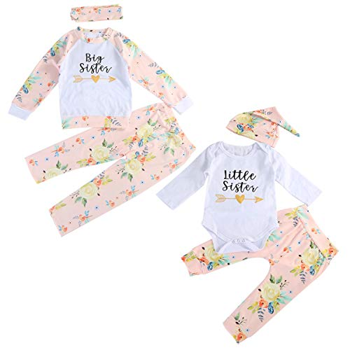 Infant Toddler Girls Matching Outfits Sisters Tops Pants Headband/Hat Set (Big 3-4Yrs, White+Floral)]()