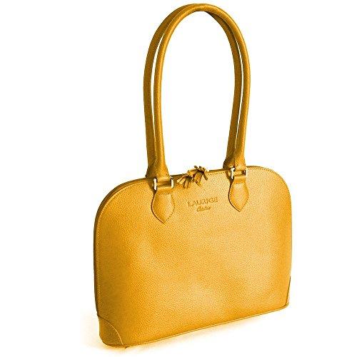 New york-Bolso de piel de lujo de fabricación francesa. naranja