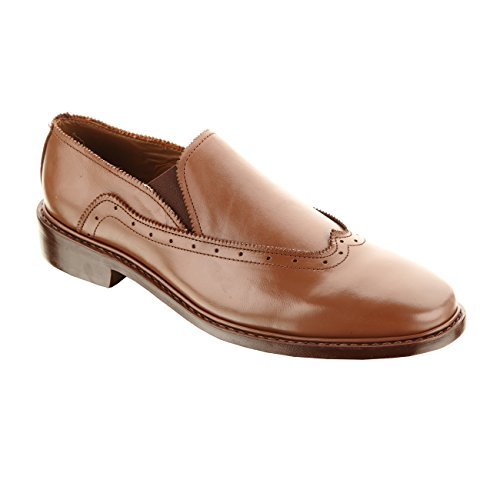 Handmade Damen Frost Chicago Mens Slip On Oxford Leather Shoes, Casual or Formal Wear Dress Shoe, Color Brown, Size US12 by Damen Frost