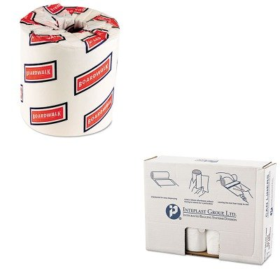 KITBWK6150IBSVALH4348N16 - Value Kit - Integrated Bagging Systems VALH4348N16 Natural Can Liners, 14 Micron, 55 - 60 Gallons (IBSVALH4348N16) and Boardwalk 6150 Two-Ply Bathroom Tissue (BWK6150)