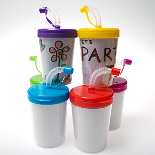 - Rhode Island Novelty Color Your Own 8 oz. Straw Cups