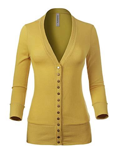 MixMatchy Women's Soft Basic V-Neck 3/4 Sleeve Snap Button Down Knit Cardigan Sweater Washbi - Front Cardigan V-neck Button Jersey