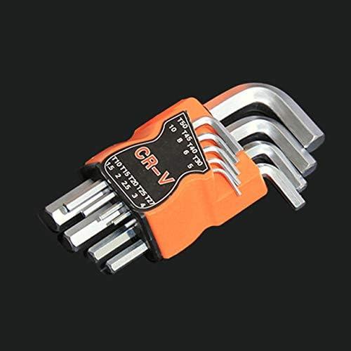 9個のフラットヘッド六角キーレンチセットトルクスL字型修復ツールドライバーツールセットCR-Vスチールトルクスパナ-シルバー