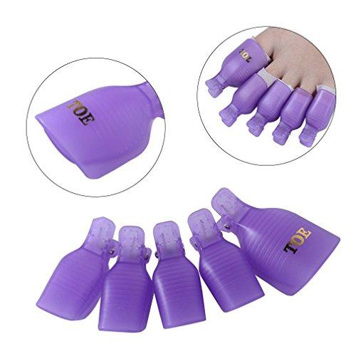CLAVUZ Soak Off Clips Caps Toenail UV Gel Polish Remover Wraps Clamp Plastic Acrylic Nail Art Pedicure Tools 5PCS