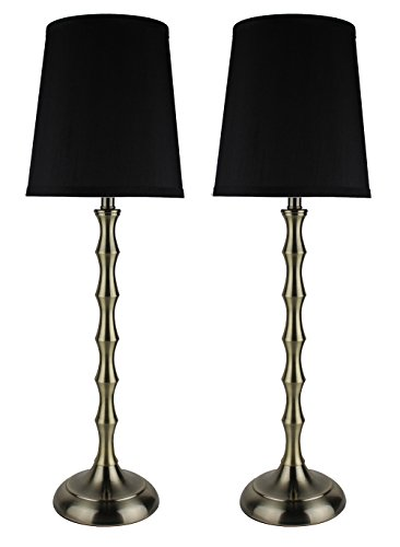 Urbanest Set of 2 Antique Brass Bahama Bamboo Buffet Lamps with Black Lamp Shades, 26-inch - Table Bamboo Antique