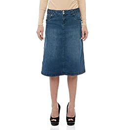 Women's Denim Skirt – A Line Jean – Below Knee Opaque