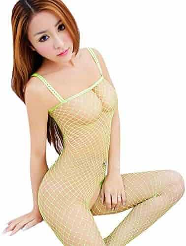 f43db6cdfd Gallity Woman s Sexy Lingerie Fishnet Bodystocking Babydoll Chemise  Sleeveless Nightwear (Free Size