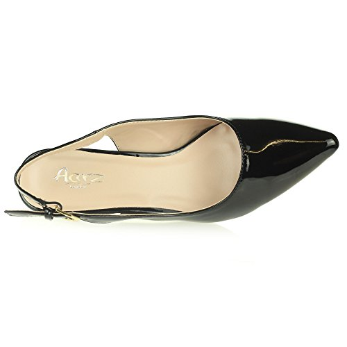 Womens Ladies Evening Party Casual Comfort Kitten Heel Slingback Sandal Shoes Size Black gUyxxt