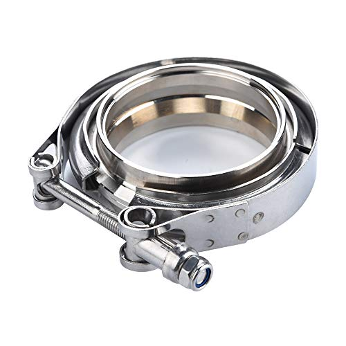 (3''Exhaust Pipe Clamp,SS304 V-Band Clamp Stainless Steel M/F 3v Band Turbo Exhaust Downpipe For Flanged Filter Racks, Turbocharging Systems,Exhaust Systems,And Industrial Applications)