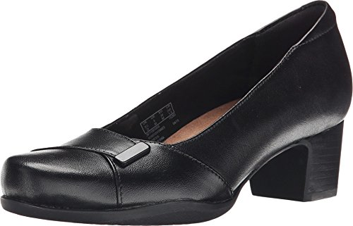 CLARKS Women's Rosalyn Belle, Black Leather 6 D - Wide -