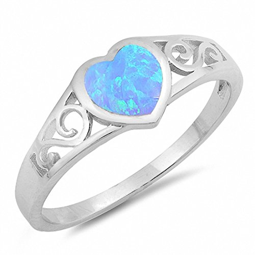 - Heart Filigree Ring Created Light Blue Opal 925 Sterling Silver, Size-7
