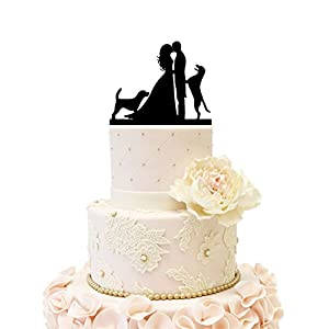 Wedding Anniverary Cake Topper Silhouette Bride Groom with 2 Dogs (Black)