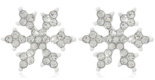 Sparkling Crystal Winter White Snowflake Stud Earrings Christmas Bridal Fashion Jewelry