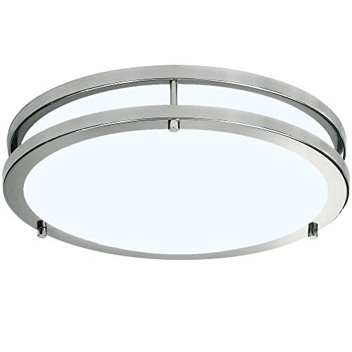 LB72165 LED Flush Mount Ceiling Light, Brushed Nickel, 16-Inch, 23W, (120W Equivalent), 5000K Daylight, 1610 Lumens, ETL & DLC Listed, Energy Star, ()