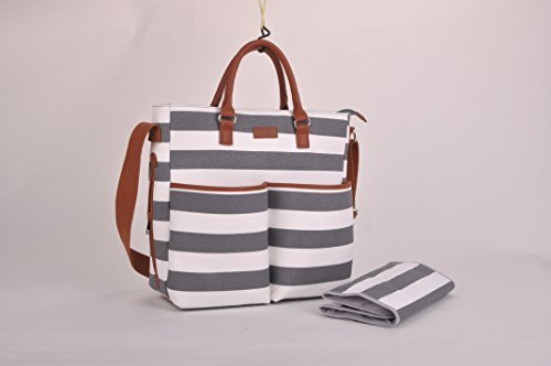 Diaper Bag by Daulia - With Matching Baby Changing Pad - Grey and White Stripe Stylish Heavy Cotton Canvas