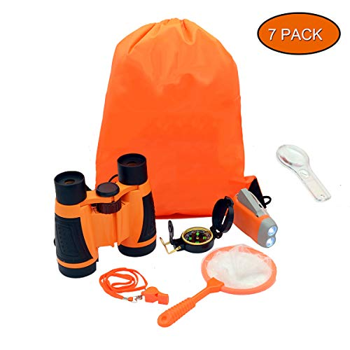 Bytrust 7 in 1 Outdoor Explorer Kit for Kids with Children's Toy Binoculars/Flashlight/Compass/Whistle/Magnifying Glass and Backpack for Camping Hiking Backyard Adventure(Orange) ()