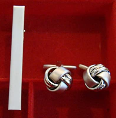 Polished & Matte Silver Knot Cufflinks and Tie Bar Set!!! Wedding Fathers Day Birthday