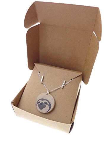 Toki Wood Sloth Jewelry Pendant Necklace And Bar Earrings Set,18&Quot; With 2&Quot; Extender -
