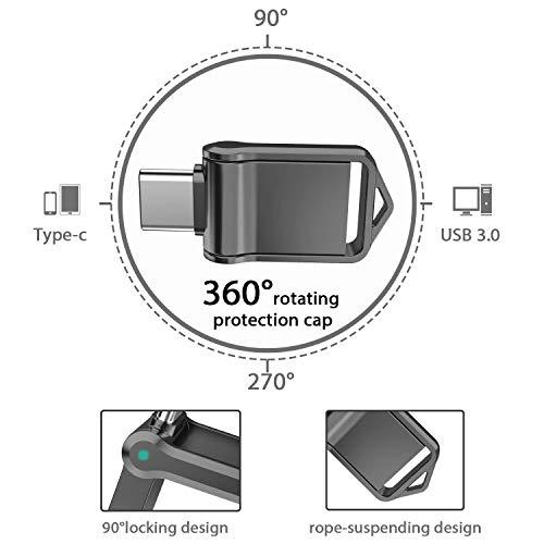 KEXIN Clé USB 128Go 3.1 Type C OTG Pendrive en Métal Étanche Antichoc Mini Clef USB 128 Go 3.0 Disque U Flash Drive pour Huawei Matebook PC et Xiaomi Honor Android Smartphones Doté Type C (Noir)