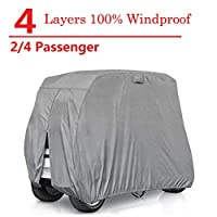 RVMasking 2/4 Passenger Golf Cart Cover Extra-Thick 4-ply Fits Yamaha, Club Car, EZ Go - Waterproof Durable Breathable Sunproof Golf Cart Covers with Rear Zipper