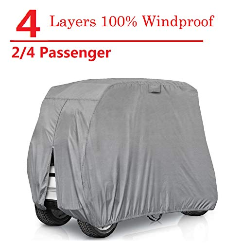 RVMasking Golf Cart Cover Extra-Thick 4-ply for 2 Passenger Yamaha, Club Car, EZ Go - Heavy Duty Waterproof Golf Cart Covers with Rear Zipper