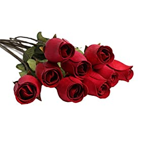 Vosarea 50PCS Artificial Flowers Bulk Rose for Decoration Cemetery Indoor Outdoor Simulation Fake Wood Petals Wedding Home Bedroom Decor - Red 25