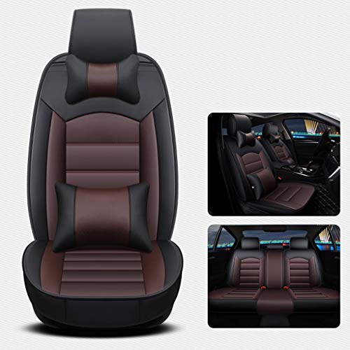 ZYLING11 Leather Car Seat Cover Four Seasons Universal Five-seat Car Mat Three-Dimensional Full Surrounded (Color : C, Size : Deluxe Edition) ()