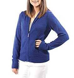 Gigi Reaume 100 Cashmere Hoodie Sweater Zip Front Cardigan With Pockets X Large Royal Navy