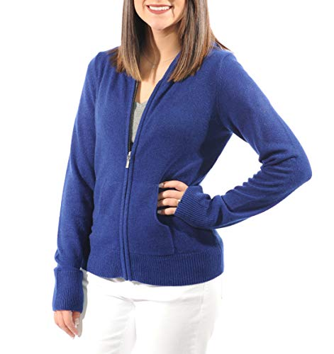 Gigi Reaume 100% Cashmere Hoodie Sweater, Zip Front Cardigan with Pockets (Small, Royal Navy) ()
