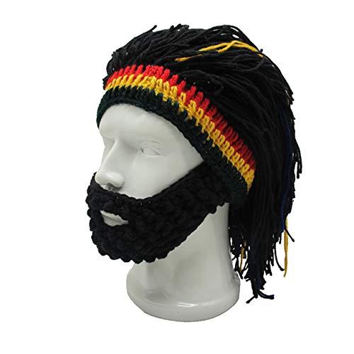 FALETO Funny Knit Beanie Beard Hat Rasta Hat