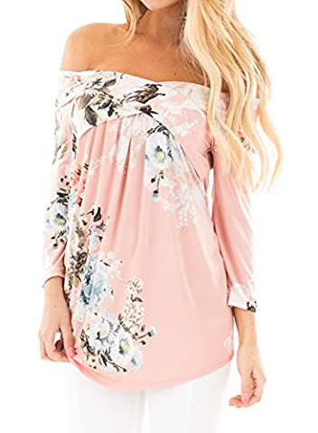 Chase Secret Womens Casual Off Shoulder 3 4 Sleeve Floral Print Blouses Tops Shirts X-large Pink - Pink Floral Shirt