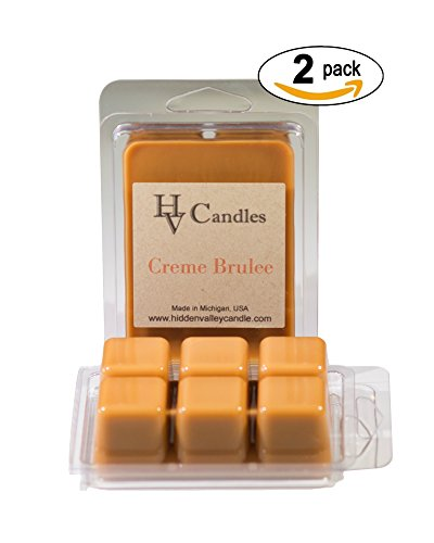 Creme Brulee Double Scented Wax Melts. Creamy vanilla custard pudding drenched with creamy buttery caramel sauce! You will receive 2 packs for a total 12 cubes which will throw 50+ hours of fragrance when melted in Scentsy®, Yankee Candle® or standard electric tart warmer. (Creme Wax Candle)