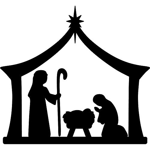 ANGDEST Nativity Silhouette (Black) (Set of 2) Premium Waterproof Vinyl Decal Stickers for Laptop Phone Accessory Helmet Car Window Bumper Mug Tuber Cup Door Wall Decoration
