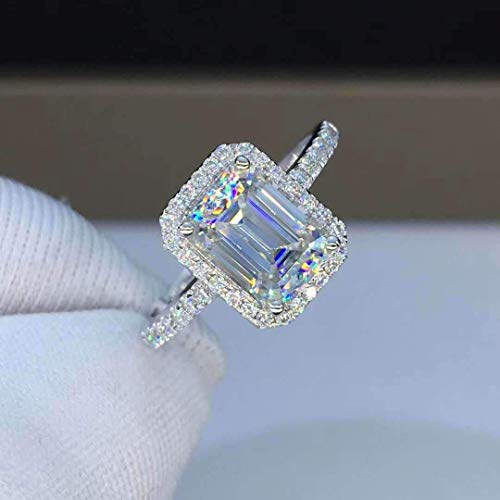 (Moissanite Engagement Ring 2.0 Carats Colorless VVS1 Emerald Cut Halo 14K 18K White Gold Rose Gold Yellow Gold Platinum)