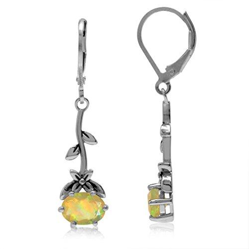 Genuine Opal 925 Sterling Silver Flower & Leaf Vintage Inspired Leverback Dangle Earrings ()