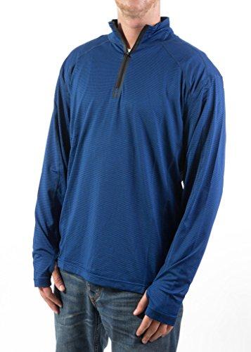 3/4 Zip Fleece Pullover - F/X Fusion 412 Men's Pullover Sweater with 3/4 Zip - Dark Denim Heather - L