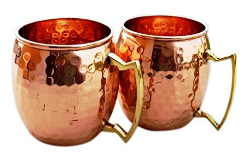 Hammered Copper Moscow Mule Mug Handmade of 100% Pure Copper, Brass Handle Hammered Moscow Mule Mug / Cup 16 Ounce,set Of-2, by CGP ()