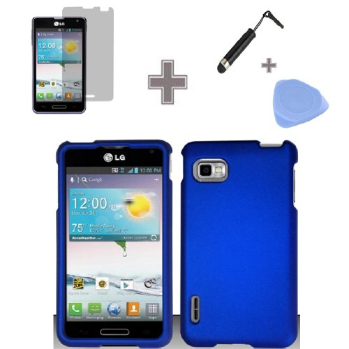 Zizo-TM-Rubberized-Solid-Blue-Color-Snap-on-Hard-Case-Skin-Cover-Faceplate-with-Screen-Protector-Case-Opener-and-Stylus-Pen-for-LG-Optimus-F3-LS720-MS659-Sprint-MetroPCS-T-Mobile