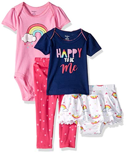 (Gerber Baby Girls 4-Piece Shirt, Bodysuit, Pant and Skirted Ruffle Panty, Rainbows, 12 Months )