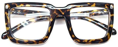Big Square Horn Rim Eyeglasses Nerd Spectacles Clear Lens Classic Geek Glasses (Leopard1830, - Eyeglasses Horn