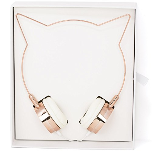 Lux Accessories Rose Gold Cat Ear Headphones Wire Frame Headset W Microphone