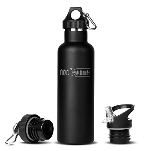 Insulated Stainless Steel Water Bottle - Noosomas Best Slim Design Wide Mouth 750mL (25oz) No Sweat Water Bottle with two cap options