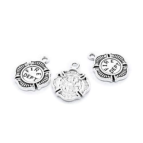 830 Pieces Antique Silver Tone Jewelry Charms Findings Supplier Crafting Craft Making T5QT6A Fire Department Badge ()