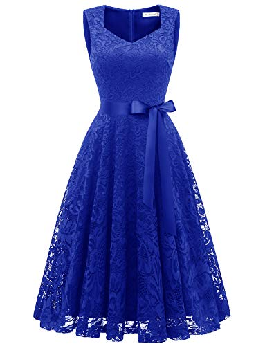 Gardenwed Elegant Lace Bridesmaid Dresses Sleeveless V Neck Formal Dresses Cocktail Dresses for WomenRoyal Blue XL