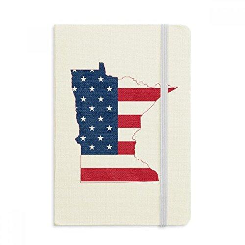 Minnesota USA Map Stars Stripes Flag Shape Notebook Fabric Hard Cover Classic Journal Diary A5